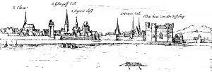 Die Martinsburg nach Hogenberg 1575.