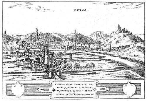 Ansicht von Wetzlar von Norden, mit Burgruine Kalsmunt rechts (noch mit deutlich mehr Bausubstanz) , aus Wilhelm Dilichs hessischer Chronik 1605